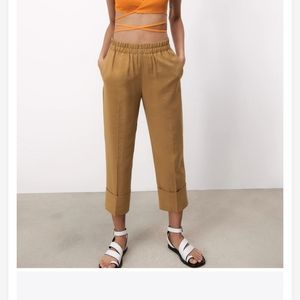 NWT Zara Light Brown Trousers with Turn-Up Hems